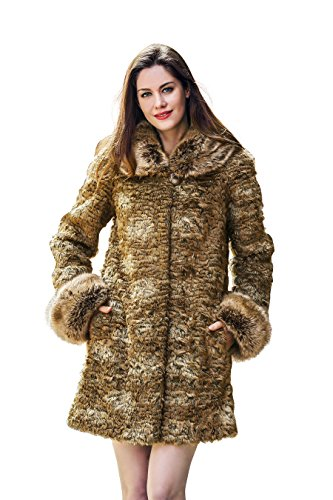 Adelaqueen Women's Winter Brown Thick Persian Lamb Faux Fur Coat Faux Raccoon Collar Size L by Adelaqueen