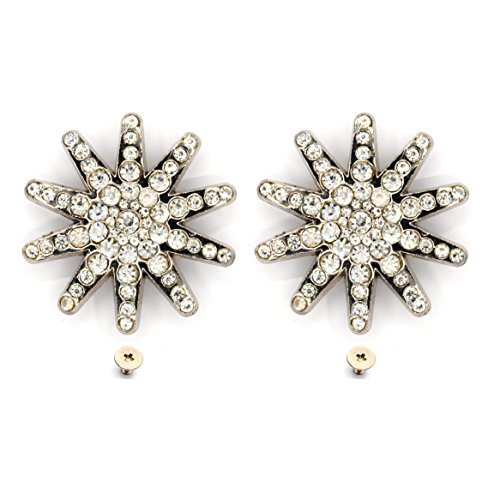 MarryAcc Craft Conchos Bling Rhinestone Conchos with Screws Leathercraft Accessories (White, 2 ()