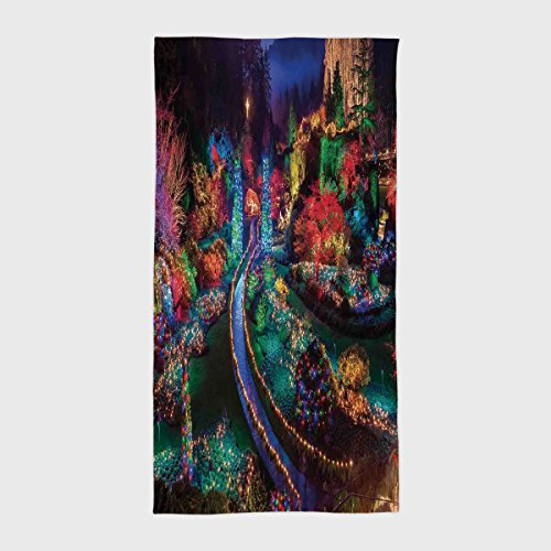 iPrint Cotton Microfiber Hotel SPA Beach Pool Bath Hand Towel,Country Home Decor,Colorful Christmas Light at Buchart Gardens Celebrations Seasonal Nature Picture,Teal Red,for Kids, Teens, and Adults from iPrint