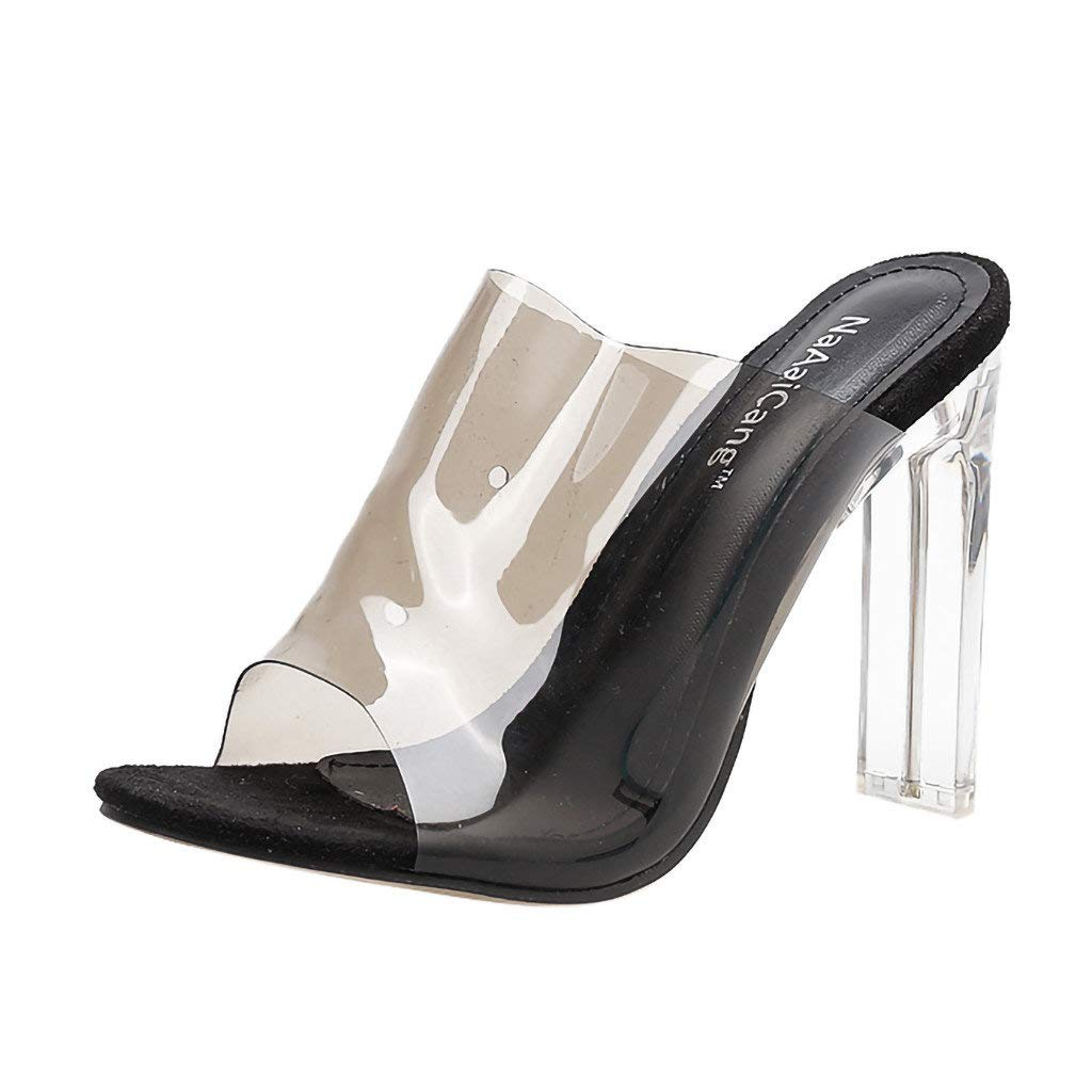 Lloopyting Women Pointed Toe Transparent Heels 2.5 inches Clear Dress Sandals Ankle Strap Stiletto Pumps Black