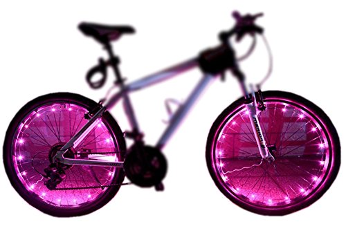 MAGINOVO Wheel Light LED Bicycle Bike Rim Lights Safety and Fun [2-Pack Bundle for 2 Tires] (Pink)