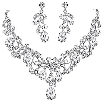 Clearine Women's Bohemian Boho Crystal Filigree Vine Leaf Hollow Statement Necklace Dangle Earrings Set Clear Silver-Tone