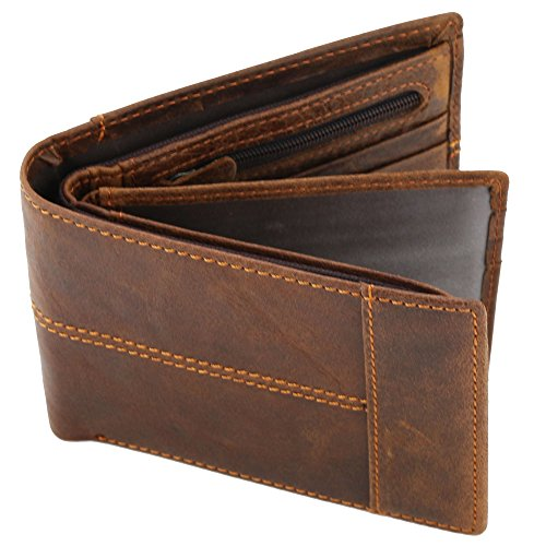 Stepack Leather Wallet for Men with Coin Pocket Bifold Travel Money Clip, Gift Box for Men(Brown)