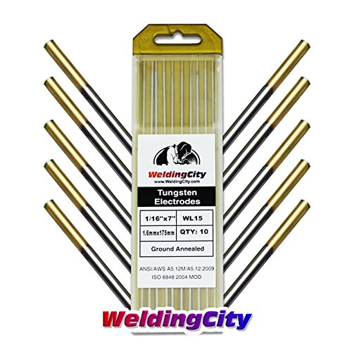 WeldingCity 10 pk TIG Welding Tungsten Electrode Rod Lanthanated 1.5% Gold 1 16 X 7 1 16 Diameter and 7 Length 10 pcs box