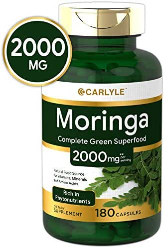 Moringa Oleifera 2000 mg 180 Capsules – Complete Green Superfood   Non-GMO,Gluten Free   from Moringa Leaf Powder   by Carlyle