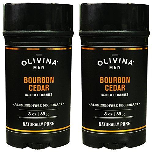 Olivina Men Bourbon Cedar Deodorant Aluminum Free Deodorant For Men 3 Ounce (Pack of 2)