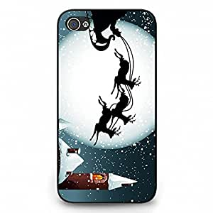 Gift Day Merry Christmas Phone Case Hard Plastic Back Case Cover For Iphone 4,Merry Christmas---Black