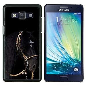 TECHCASE---Cubierta de la caja de protección para la piel dura ** Samsung Galaxy A5 ( A5000 ) 2014 Version ** --caballo galope negro arnés semental melena
