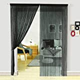 HSYLYM Dense Spaghetti Fringe String Door Curtain Panels Room Divider Fly Screen for Living Room (100x280cm,Black)