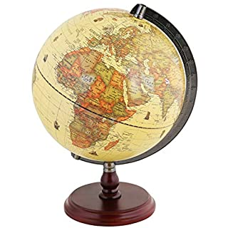 """Exerz Antique Globe 10"""" / 25 cm Diameter with A Wood Base, Vintage Decorative Political Desktop World - Rotating Full Earth Geography Educational - for Kids, Adults, School, Home, Office (Dia 10-inch)"""