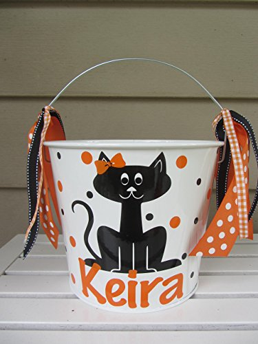 Personalized 5 quart Halloween pail-black cat design -
