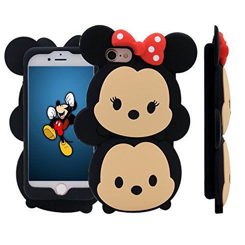iPhone 7 Case, MC Fashion Cute 3D American Cartoon Characters Minnie and Mickey Mouse Silicone Case Compatible for Apple iPhone 7 (2016) Release (Minnie and (Cute Girl Cartoon Characters)