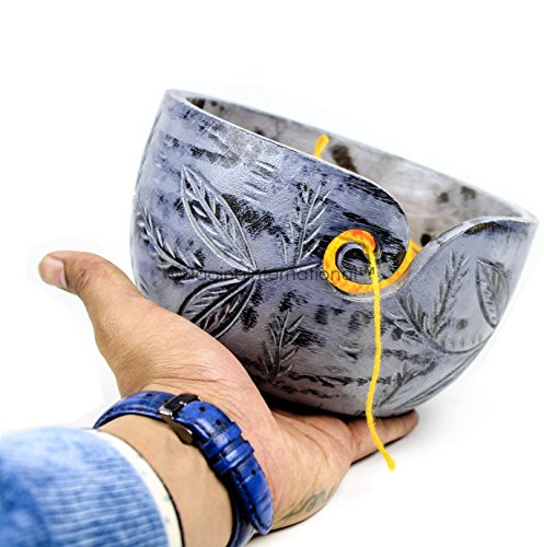 Exquisite Premium Yarn Ball Storage Bowls | Hand Painted Lovely Decor Yet Functional Yarn Dispenser (Large (7 x 4 x 7 Inches), Ash Grey) by Nagina International