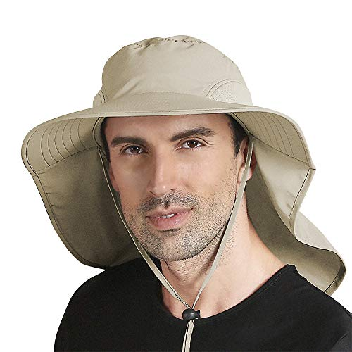 Peicees Outdoor Fishing Hat with Ear Neck Flap Cover Wide Brim UPF50 Sun Protection Safari Cap for Men Women Hunting Hiking Camping Boating Adventure