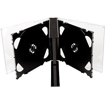 Four Square Media. Caja para 6 CD o DVD (25 mm, 10 unidades), con bandeja negra, pack de 10