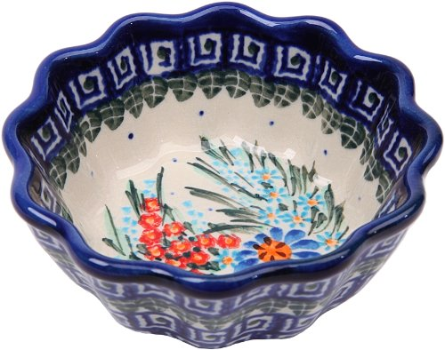 Polish Pottery Ceramika Boleslawiec 0432/169 Royal Blue Patterns with Blue Daisy and Orange Phlox Motif Bowl Babka, Small