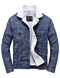 LifeHe Men's Casual Fleece Lined Fur Denim Jacket Winter Slim Fit Jeans Coat