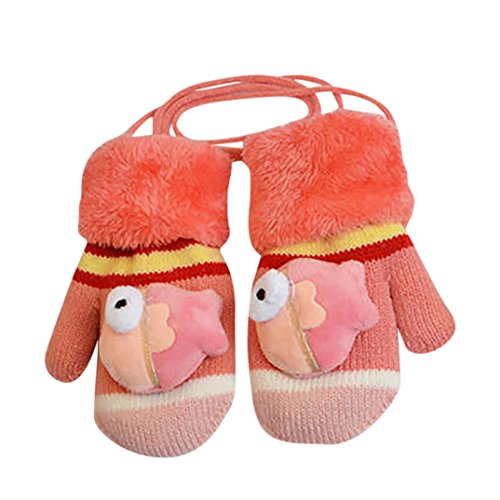 Baby Winter Mittens,ChainSee Boys Girls Cute Cartoon Thicken Gloves With String