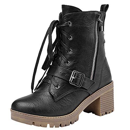 rbnb Classiques De Plate Bottines Femmes Motard Talon Noir Securite Épais Chaussure Hiver Rétro Mode Chaude Baskets Bottes Femme Chaussures Courtes Avec Chaudes qtxf4Owpg