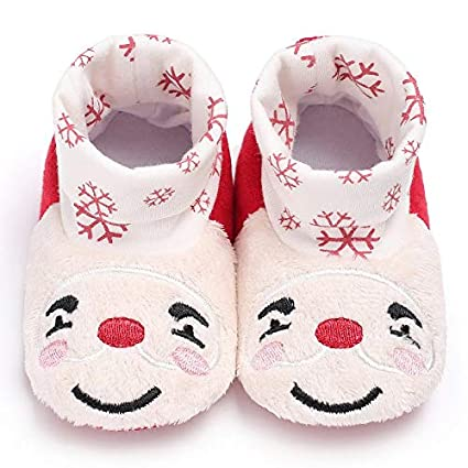 Toddler Lovely Deer Snow Plush Soft Warm Home Slippers Shoes Prewalker for Baby Girls Boys Xmas Best Gifts