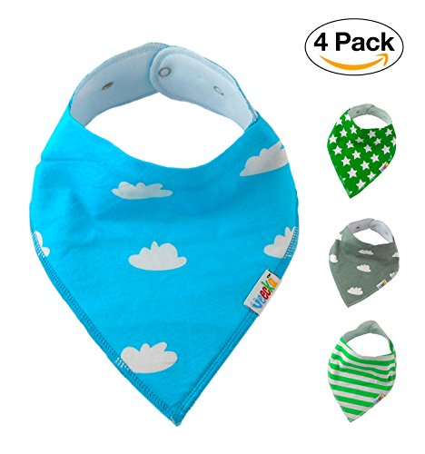 Baby Bandana Drool Bibs Gift Set For Boys by Veecka / 4 Pack Made of Absorbent Soft Cotton with Snaps / Ideal for Drooling and Teething / New Baby, Newborn boy, First Birthday, Baby Shower Gifts
