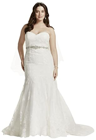 Lace Plus Size Wedding Dress with Scalloped Hem Style 9V3680 at ...