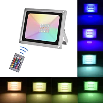 Sararoom 30W Focos Led exterior,IP65 Foco LED RGB,16 Colores ...