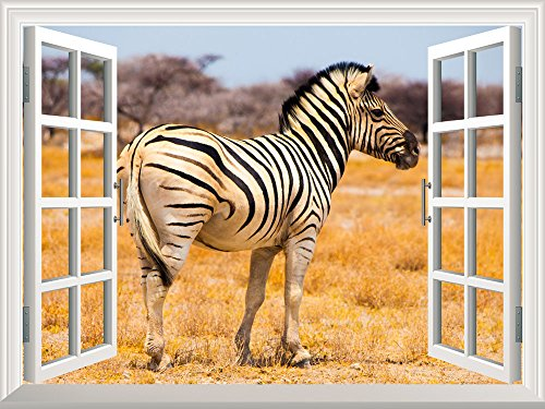 Removable Wall Sticker Wall Mural A Zebra on the African Savannah with Acacia Trees Creative Window View Wall Decor
