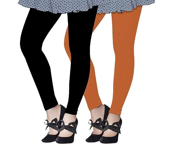 4079bac33b562 Lux Lyra Women's Ankle Length Leggings, Pack of 2 (Black : Orange ...