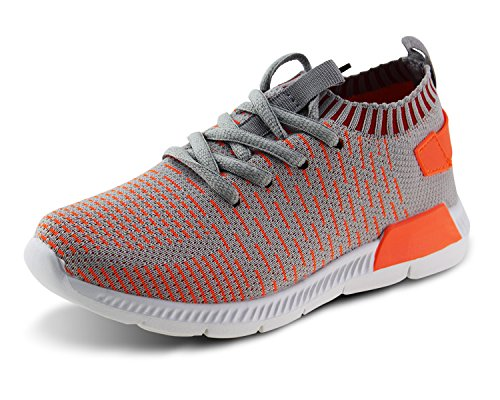(Jabasic Kids Running Shoes Boys Girls Lightweight Breathable Easy Walk Slip On Knit Sneakers(1,GO))