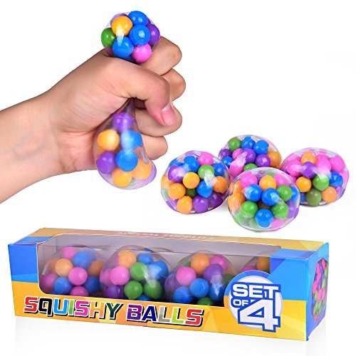 (Special Supplies DNA Squish Stress Ball (4-Pack) Squeeze, Color Sensory Toy - Relieve Tension, Stress - Home, Travel and Office Use - Fun for Kids and Adults)