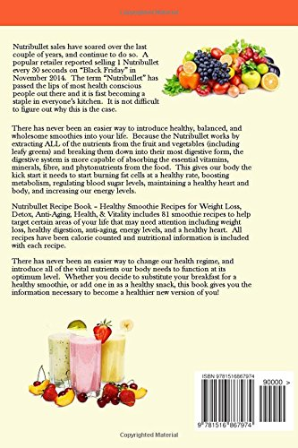5139BFIZpDL - Nutribullet Recipe Book - Healthy Smoothie Recipes for Weight Loss, Detox, Anti-Aging, Health, & Vitality.