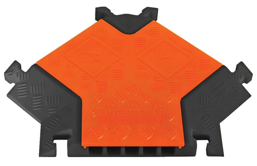 Linebacker CPY5X125-GP-O/B Polyurethane Heavy Duty General Purpose 5 Channel ''Y'' Cable Protectors, Orange Lid with Black Ramp, 19.75'' Length, 17.25'' Width, 1.95'' Height