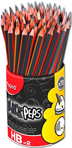 Maped Black'Peps Triangular Graphite #2 Pencils School Pack, Pack of 72 (851759ZV) by Maped Helix USA (Image #5)