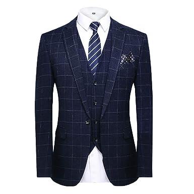 a89ab03ba797 MAGE MALE Men's Plaid 3 Piece Suit Elegant Two Buckle Slim Single Breasted  Blazer Vest Pants