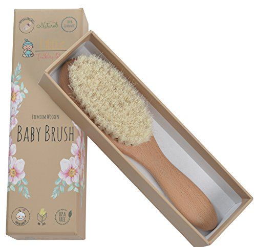 Wooden Baby Hair Brush - Healthcare and Grooming for Newborns & Toddlers, Ideal for Cradle Cap and Baby Registry by Little Tinkers World