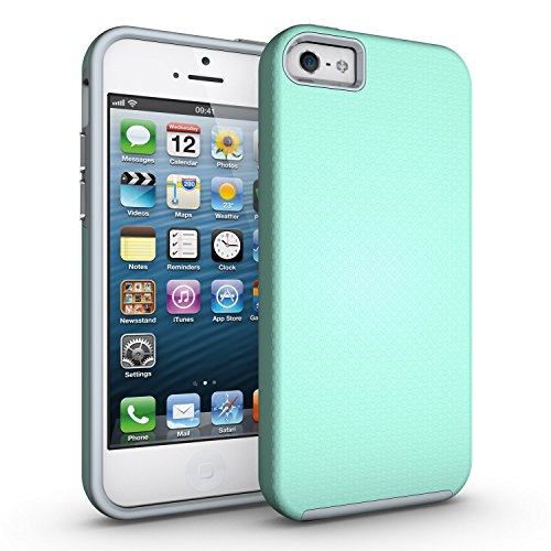 Price comparison product image Case for iPhone 5s, Slim Fit Protection Case Dual Layer Hybrid Shockproof Ultra Defender Protective Rubber Hard Cover for Apple iPhone 5 5S SE (Mint Green)