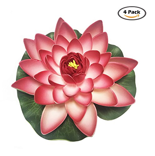 4 Pieces Floating Flower-Herxuhouse Floating Pond Decor Water Flower Foam Artificial Lotus for Home & Party Decoration & Holiday Celebration (Red)