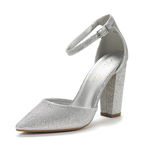 DREAM PAIRS Women's Coco Silver Glitter Mid Heel Pump Shoes - 9 M US ()