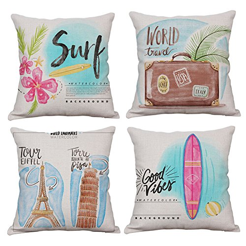 KACOPOL Inspirational Quote Travel Saying Throw Pillow Covers Summer Holiday Outdoor Decorative Cotton Linen Pillowcase Cushion Cover Square 18x18 Inches Set of 4 (World Travel) -