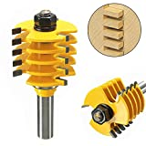 Zinnor 1/2'' Shank Woodworking Tools,Router Bit Set Woodworking Cutter Tools 5 Blade 3 Flutes