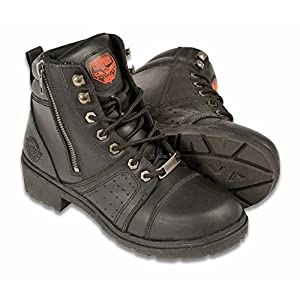 Milwaukee Women's Lace to Toe Boots with Side Zipper (Black, Size 8)