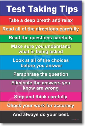 Test Taking Tips - NEW Classroom Motivational Poster