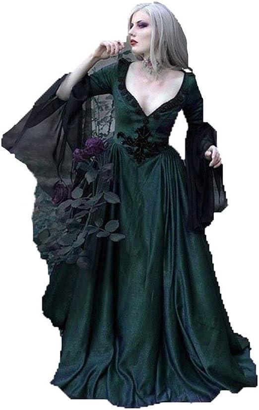 CAGYMJ Dress Party Mujer Vestido,Cosplay Medieval Retro Gótico ...