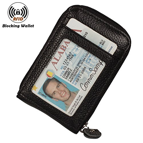 Noedy RFID Blocking Credit Card Case Organizer Genuine Leather Zip-Around Security Wallet Black
