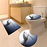 3 Piece large Contour Mat set A rea ninja shot on a smoke filled and strobe light to achieve a dramatic effect Bathroom Rugs Contour Mat Lid Toilet Cover
