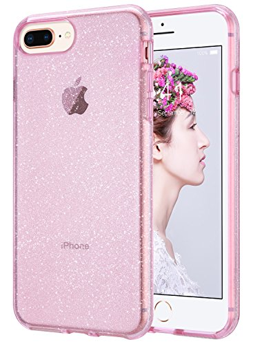 ULAK Clear Glitter Case for iPhone 8 Plus, iPhone 7 Plus Clear Shock Absorption Bumper TPU Protective Cover Case for Apple iPhone 7 Plus/iPhone 8 Plus (2017), Pink (Pink Glitter Crystal Hard Case)
