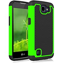 LG Rebel LTE Case, Jeylly [Shock Proof] Scratch Absorbing Hybrid Rubber Dual Layer Impact Defender Rugged Slim Hard Case Cover Shell For LG Rebel LTE / LG K4 / LG Optimus Zone 3 / LG Spree - Green