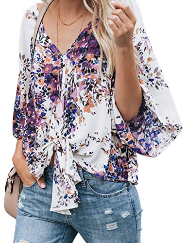 CICIDES Womens Floral Print Blouses Tie Front V Neck 3 4 Batwing Sleeve Female Boho Fashion 2019 Plain Summer Loose Fit Tops and Henley Shirts Purple US18-20 XX-Large Plus Size for Women