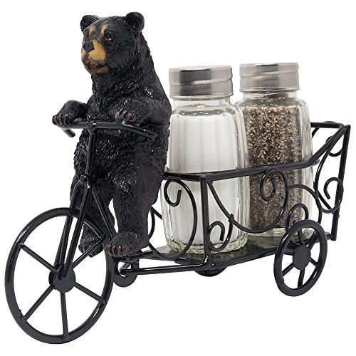 (Decorative Black Bear Riding Bicycle Cart Salt and Pepper Shaker Set Figurine Display Stand Holder for Rustic Cabin and Lodge Kitchen Decor Table Centerpiece Decorations or Wedding & Housewarming)